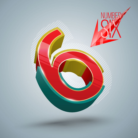 six objects: Vector Number Six 3D style. Vector illustration Illustration