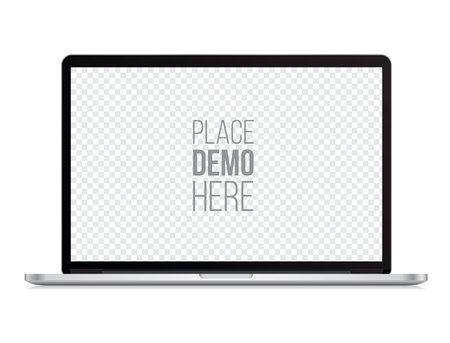 Laptop front mockup geïsoleerd op de witte achtergrond. Vector illustratie. Stockfoto - 63594341