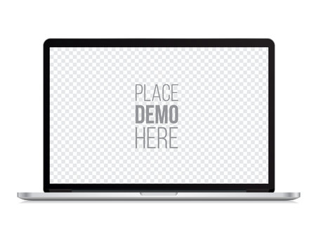 laptop front mockup isolated on the white background. Vector illustration.