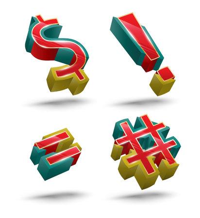 icono: Symbol vector 3D style set. Vector illustration. Illustration