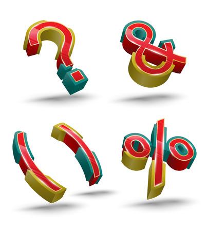 point d interrogation: Vector symbol set 3D style. Vector illustration.