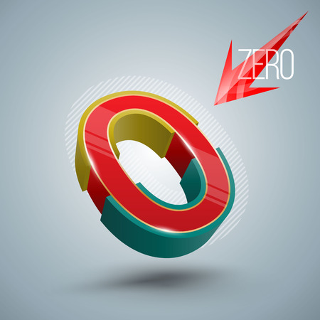 Vector Number Zero 3D style. Vector illustration Illustration