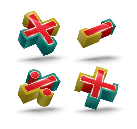 cast: Vector Calculate Symbol icon 3D style. Vector illustration