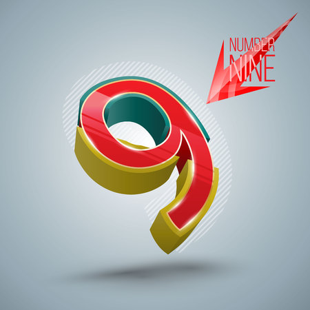 numero nueve: Vector Number Nine 3D style. Vector illustration
