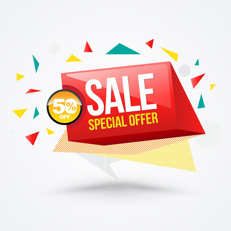children only: Sale banner funny style. Vector illustration. Can use for promotion discount about fashion and kids product.