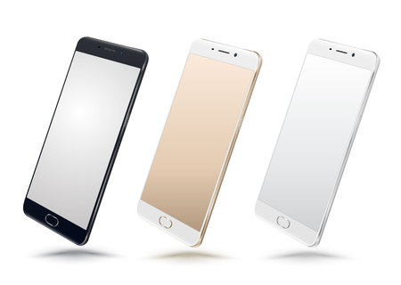 smart phone: Smartphone mockups set on white background. Vector illustration. for printing and web element, Game and application mockup on smartphone