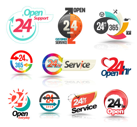 24 7: 24 hours open customer service collection. Vector illustration. Illustration