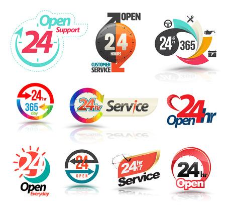 24 uur per dag geopend klantenservice collectie. Vector illustratie.