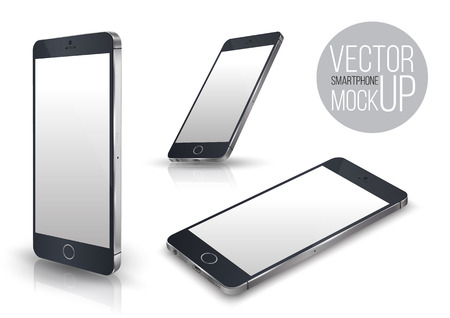 Realistic smartphone front perspective set mockup. Vector illustration. for printing and web element, Game and application mockup.