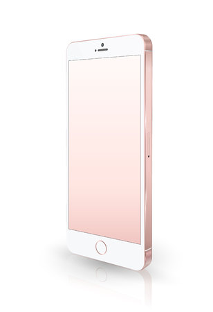 mobile cellular: Realistic pink smartphone mockup. Vector illustration. for printing and web element, Game and application mockup. Illustration