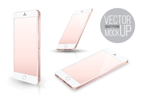 inch: Realistic pink smartphone front perspective set  mockup. Vector illustration. for printing and web element, Game and application mockup.