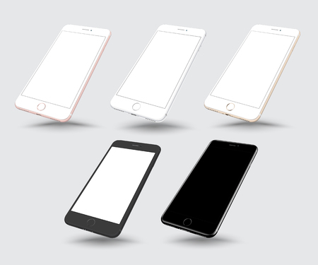 Set of realistic smartphone mockup. Highly detailed vector illustration. Vettoriali