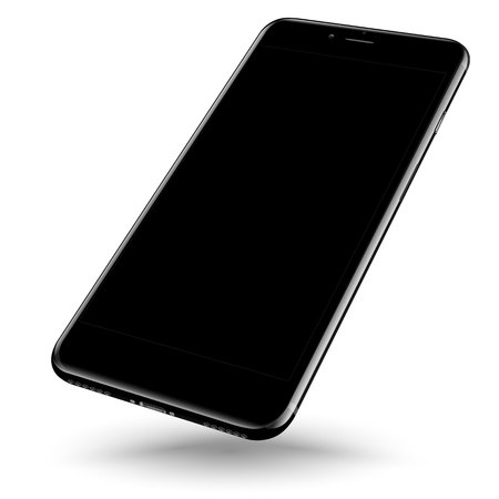 Perspective smartphone realistic mock-up. Vector illustration.