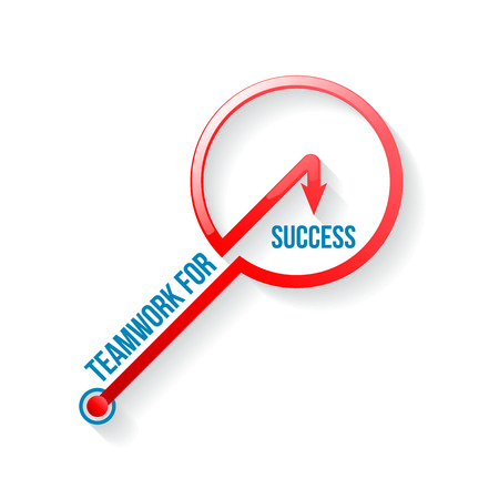 success key: Teamwork for success key style for motivation business team. Vector illustration.