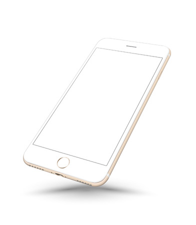 telecommunications technology: New realistic gold smartphone mockup perspective on white background. Vector illustration.