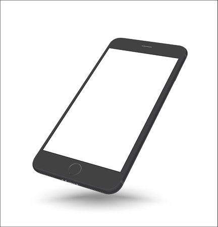 iphon: New realistic black smartphone mockup perspective on white background. Vector illustration.