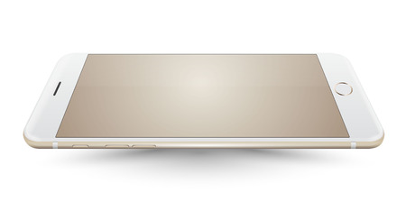 iphon: New realistic gold smartphone mockup perspective on white background. Vector illustration.