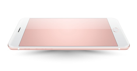 iphon: Pink smartphone mockup perspective on white background. Vector realistic illustration.