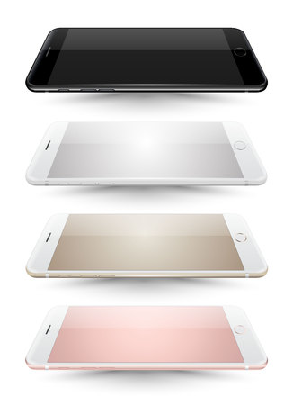 iphon: Realistic vector four smartphone mockups collection on white background. Vector illustration for printing and web element, Game and application mockup.