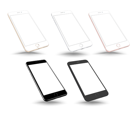 Realistic vector smartphone set mockup perspective. Highly detailed illustration.