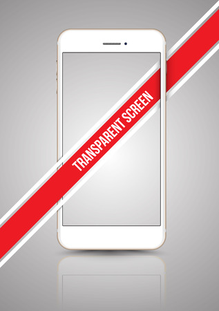 presentation screen: Gold smartphone mock-up transparent screen. Vector illustration for printing, website, presentation, app, game demo on smartphone.