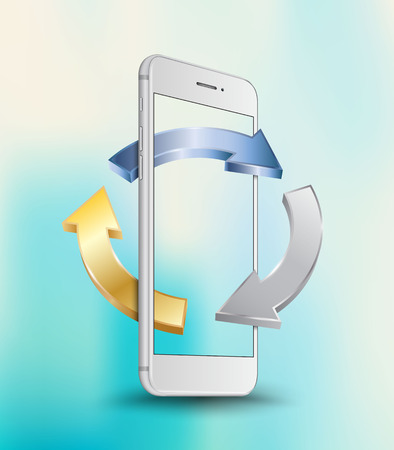 White gray smartphone perspective transparent screen mock-up with three circle arrows on blue abstract background. Highly detailed vector illustration.