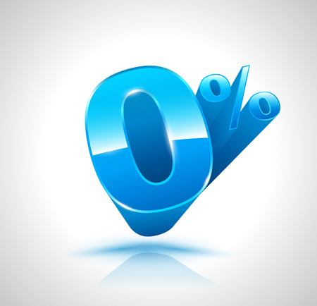 Blue Zero percent 3D style. Vector Illustration
