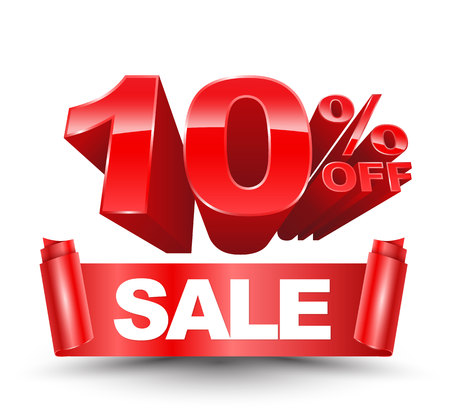 3d ten percent off red with sale red ribbon on a white background for promotion advertising.