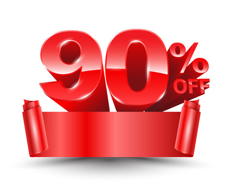 90 percent off red ribbon banner roll