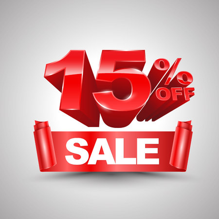 financial year: 15 percent off sale red ribbon banner roll 3D style.