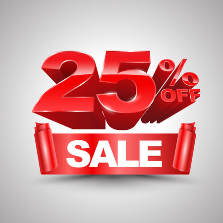 25 percent off sale red ribbon banner roll 3D style Vettoriali