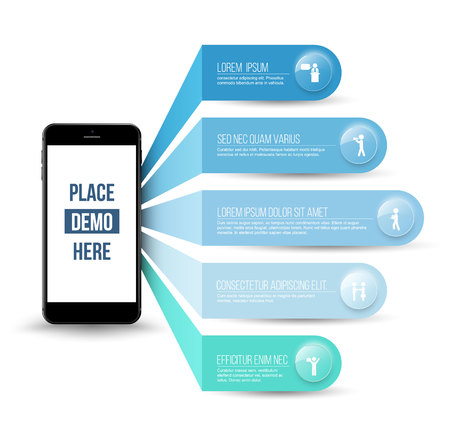 dominance: Application on smartphone concepts with icons can use for application, infographic, business concept or template.