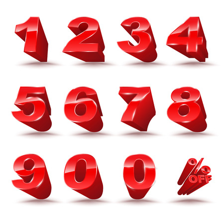 numeracy: Three-dimensional number set 0-9 with percent off