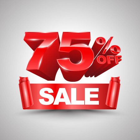 liquidation: 75 percent off sale red ribbon banner roll 3D style