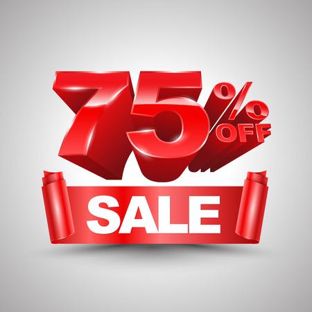 75 percent off sale red ribbon banner roll 3D style Ilustração Vetorial
