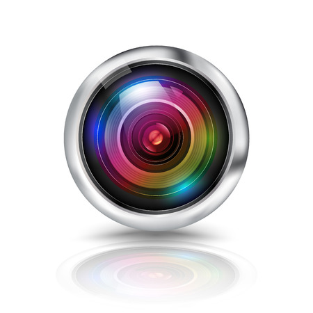 circle icon: Colorful camera lens on white background Illustration