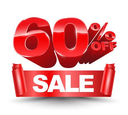 60 percent off sale red ribbon banner roll Ilustração Vetorial