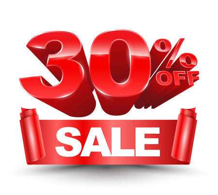 3d 30 percent off red with sale red ribbon on a white background for promotion discount sale advertising. Ilustração Vetorial