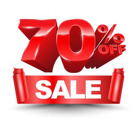 70 percent off sale red ribbon banner roll Ilustração Vetorial