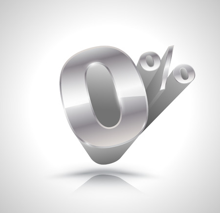 3d silver number Zero percent Illustration