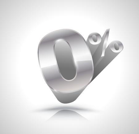 number zero: 3d silver number Zero percent Illustration