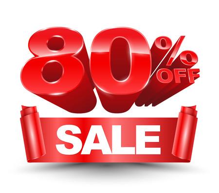 80 percent off sale red ribbon banner roll Ilustração Vetorial
