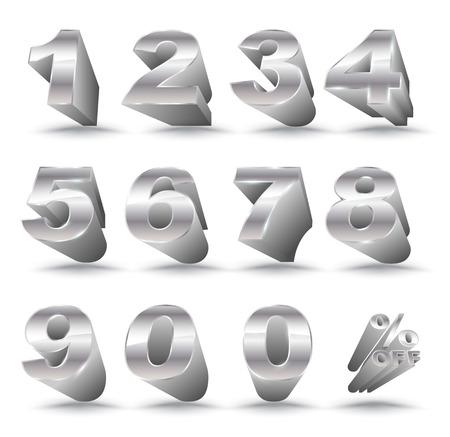 Trois dimensions nombre défini 0-9 avec pour cent de réduction