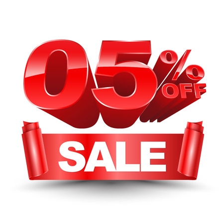3d SALE zero five percentage off red on a white background. For promotion advertising and loan.