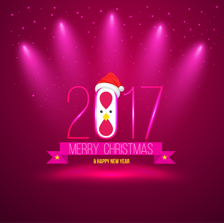 Pink Merry chrisoms and happy new year 2017 card. Vector illustration.
