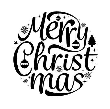 Merry Christmas text free hand design isolated on white background. Vector illustration. Vettoriali