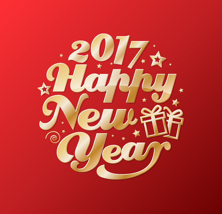 collection red: Happy New Year gold lettering circle. Modern calligraphy for greeting card, poster, photo overlay. Isolated on red background. Vector illustration. Handmade vector calligraphy collection