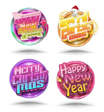 new year party: New year party and Christmas party banner set and New year Holiday celebration invitation.