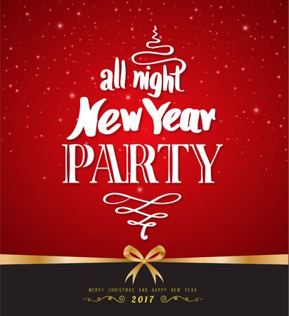 new year party: All night New Year Party design poster template. Vector illustration. Illustration
