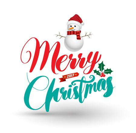 happy christmas: happy merry christmas snowman character Illustration